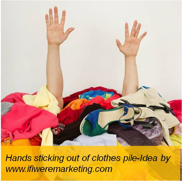amazon fashion-heap of clothes with hands sticking out-www.ifiweremarketing.com