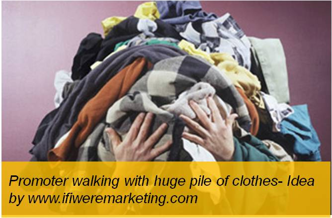 amazon fashion-promoter walking with huge pile of clothes-www.ifiweremarketing.com