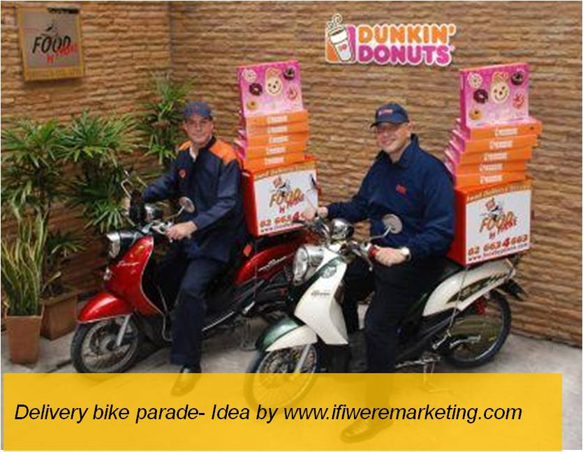 unusual marketing ideas-delivery bike parade -www.ifiweremarketing.com
