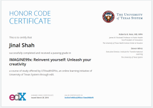 University of Texas Systems: Reinvent Yourself-Unleash Your Creativity Certificate- Jinal ShahCS