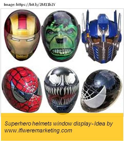 honda motorcycle marketing-superhero helmet window display-www.ifiweremarketing.com