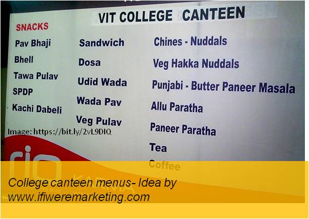 vodafone telecom marketing-college canteen menu-www.ifiweremarketing.com