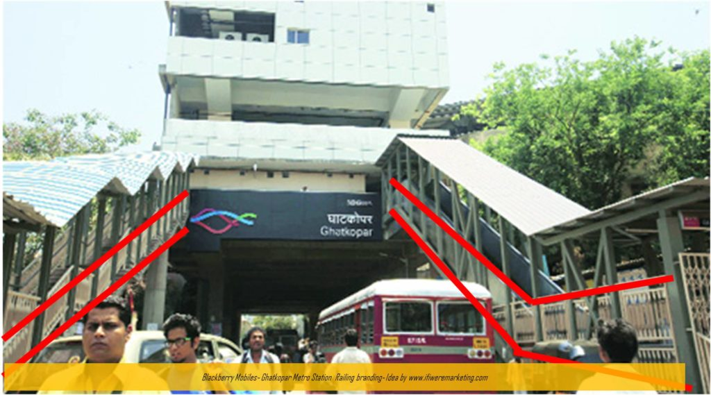 blackberry mobiles marketing-ghatkopar metro station railing branding-www.ifiweremarketing.com