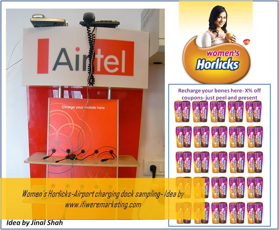 women horlicks marketing-airport charging dock sampling-www.ifiweremarketing.com