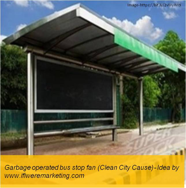 electrical equipment marketing- havells fans- garbage operated bus stop fan- clean cities cause-www.ifiweremarketing.com