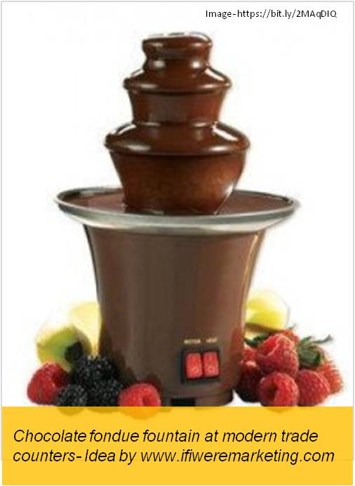 magnum ice cream- Chocolate fondue fountain at modern trade outlets-www.ifiweremarketing.com