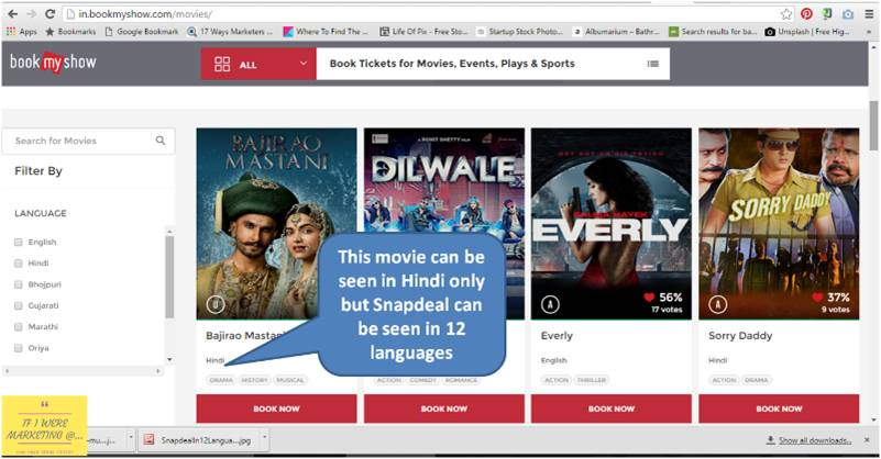 non-traditional marketing ideas snapdeal-bookmyshow movie listing-www.ifiweremarketing.com