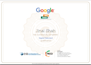 google digital unlocked certificate-jinal shah-www.ifiweremarketing.com