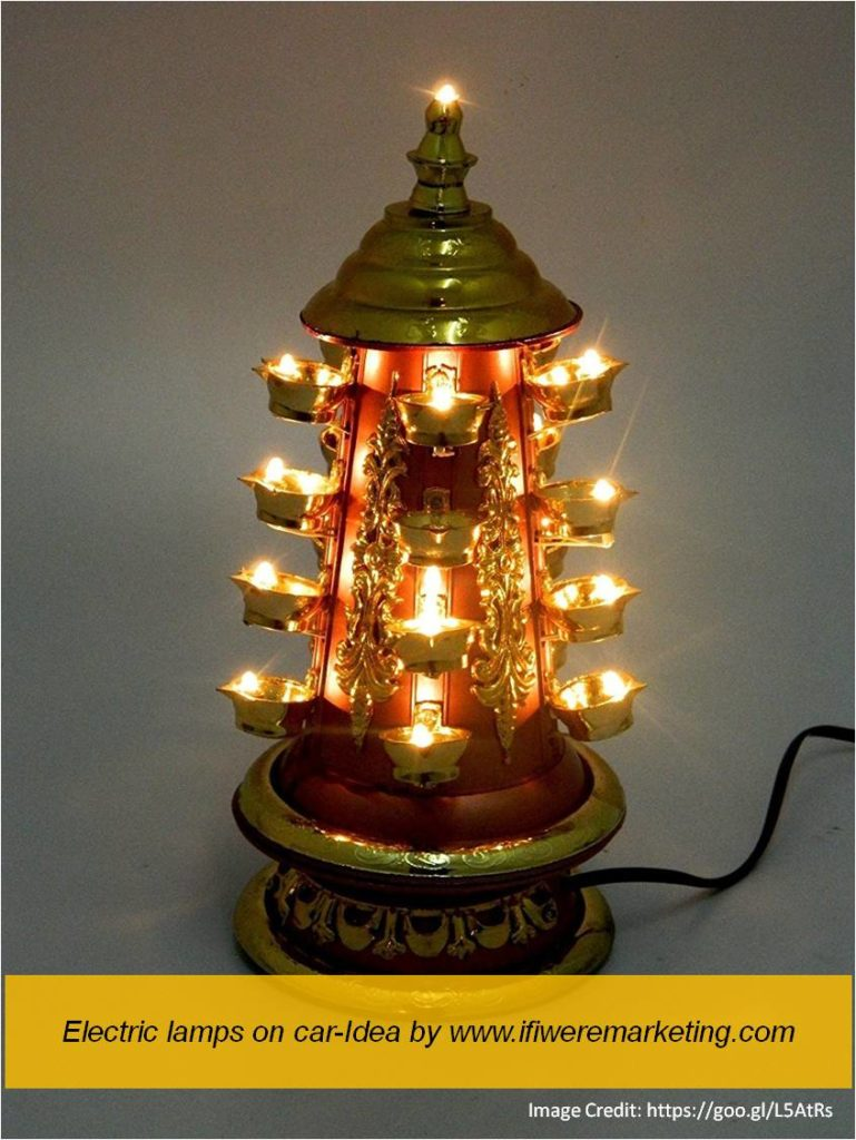 electric lamps on car-diwali marketing ideas-www.ifiweremarketing.com