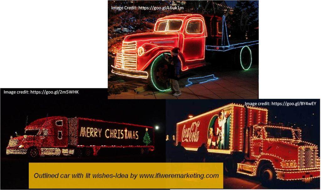 outlined car with lit wishes-diwali marketing ideas-www.ifiweremarketing.com