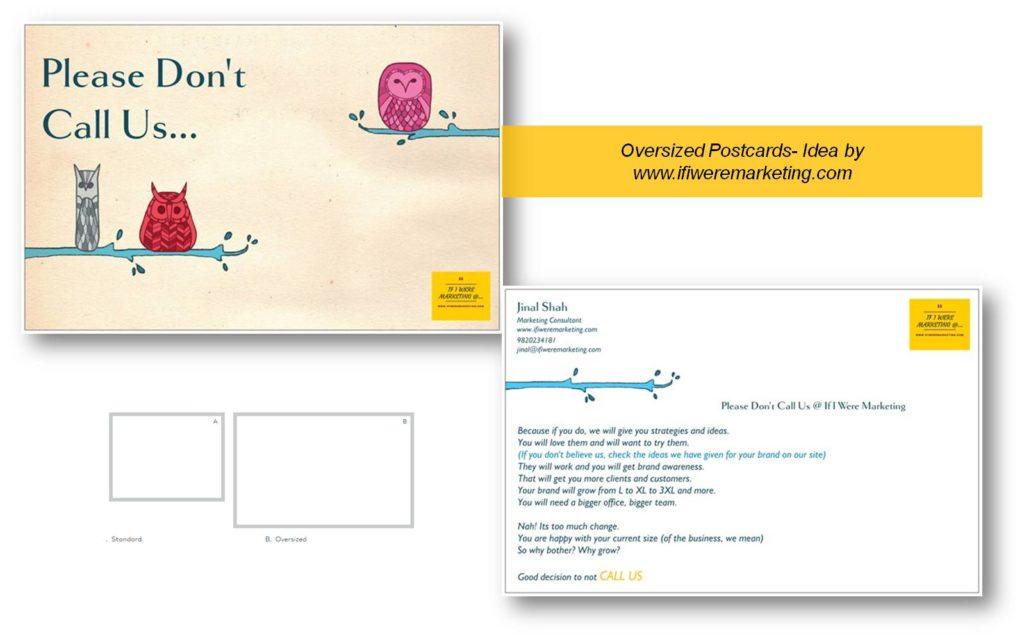 oversized post cards- low cost marketing-brand awareness-www.ifiweremarketing.com